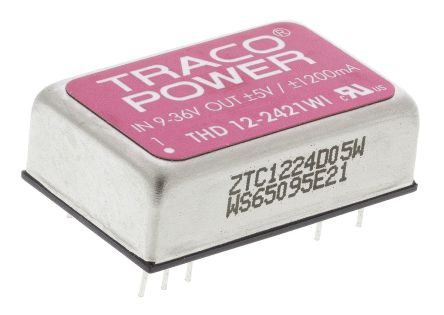 TRACOPOWER THD 12WI 12W Isolated DC-DC Converter Through Hole, Voltage in 9 → 36 V dc, Voltage out ±5V dc