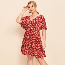 Kleid mit V-Kragen, Schmetterling Ärmeln, Rueschen Detail und Bluemchen Muster