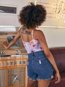 Angel Print Slip Bodysuit