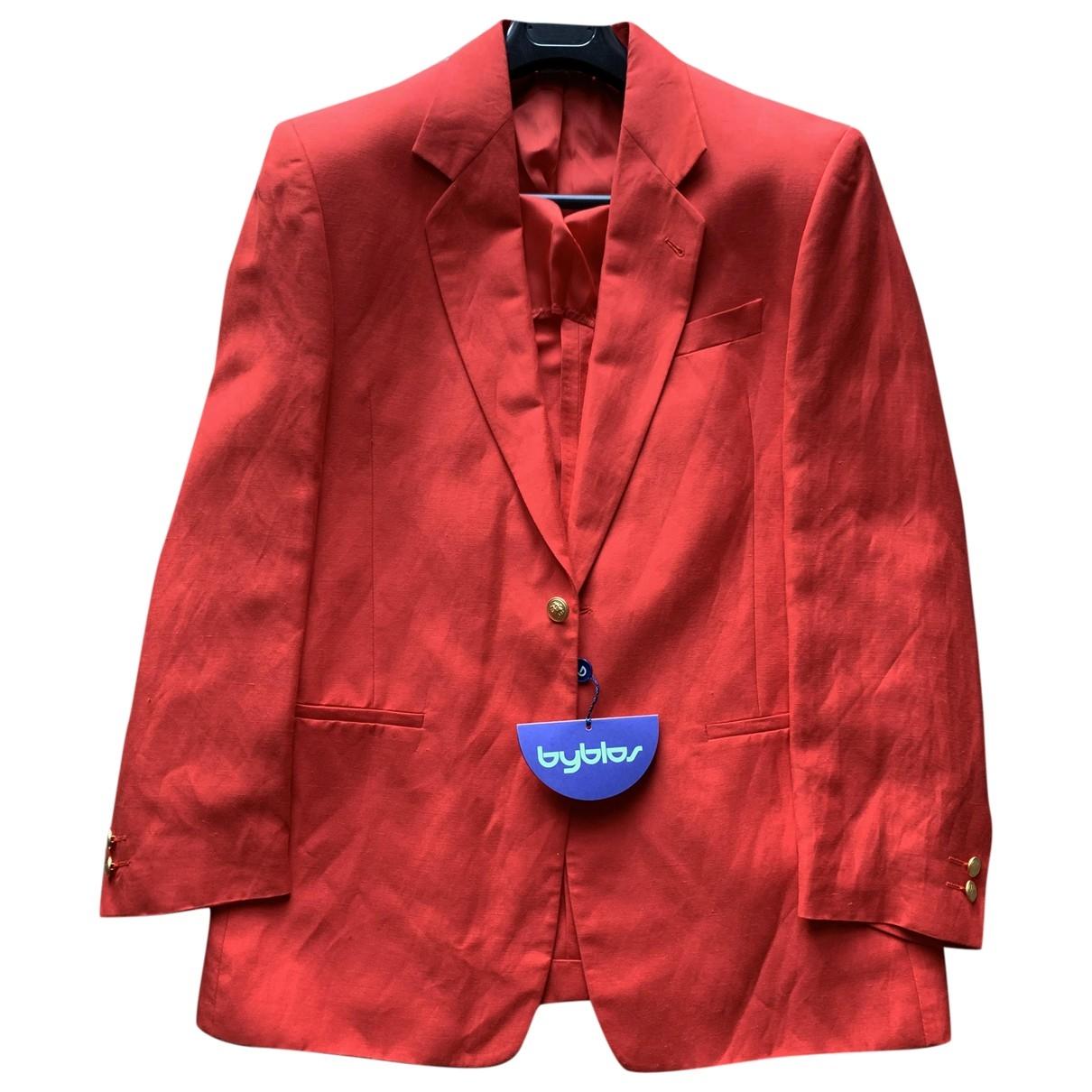 Byblos \N Red Linen jacket  for Men 48 IT