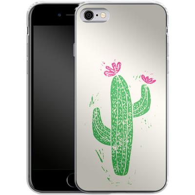 Apple iPhone 6s Silikon Handyhuelle - Linocut Cacti von Bianca Green