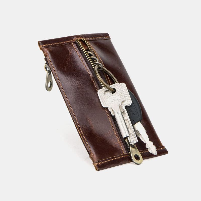 Men Slim Key Genuine Leather Zipper Coin Purse