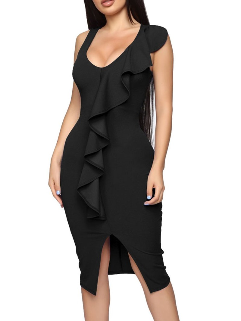 Ericdress Scoop Split Sleeveless Sexy Stringy Selvedge Bodycon Dress