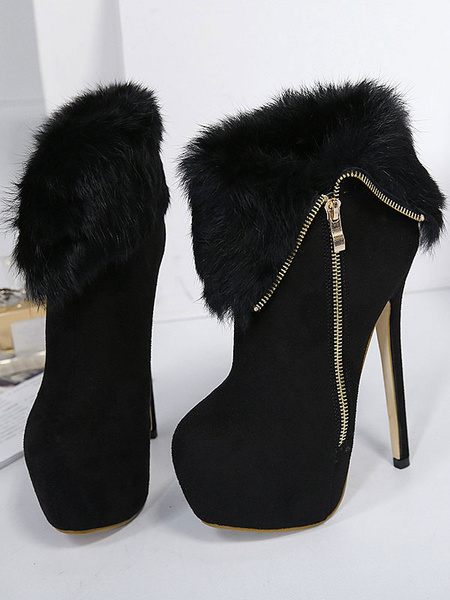 Milanoo Women Ankle Boots Micro Suede Platform Stiletto Heel Round Toe 6.3 Sexy Booties With Faux Fur