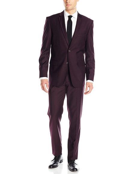 Men's 2 Button Solid Wine Classic & Slim Fit Blend Suits