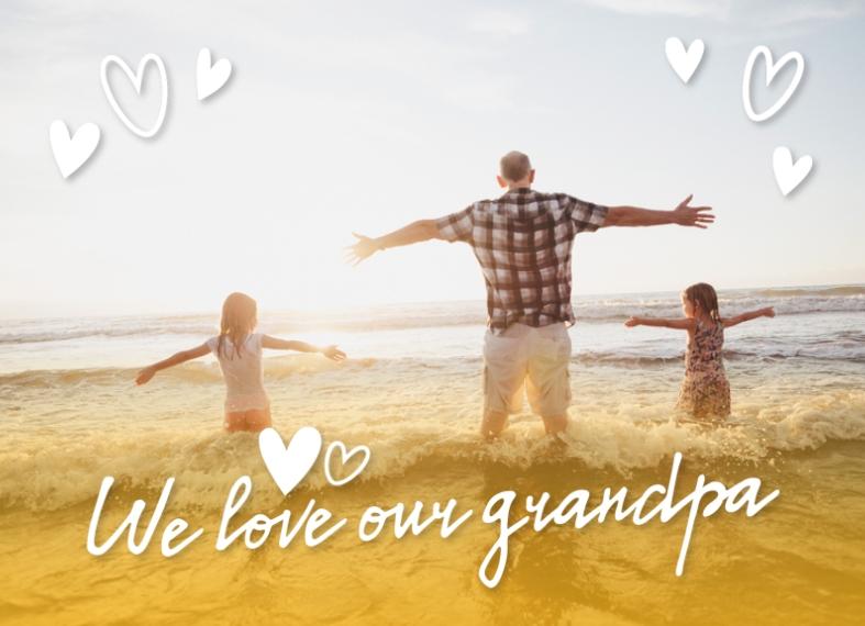 Family 5x7 Glass Print, Home Décor -Grandpa Love Hearts