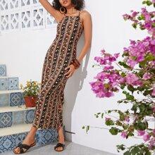 Kleid mit seitlichem Reissverschluss und Bluemchen Muster & Kleid mit Stamm Muster