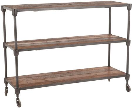 Paxton Collection ZWPX5067 50-Inch Reclaimed Teak Console Table with Grey Zinc Wheels in