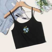 Daisy Embroidery Crop Cami