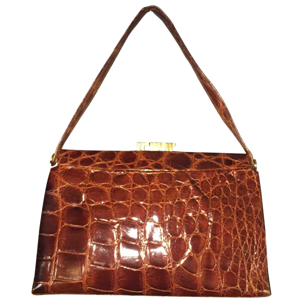 Non Signé / Unsigned Hippie Chic Brown Crocodile handbag for Women \N