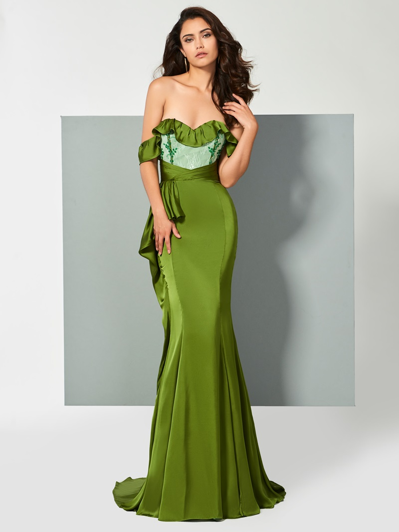 Ericdress Off The Shoulder Ruffle Mermaid Evening Dress With Sweep Train