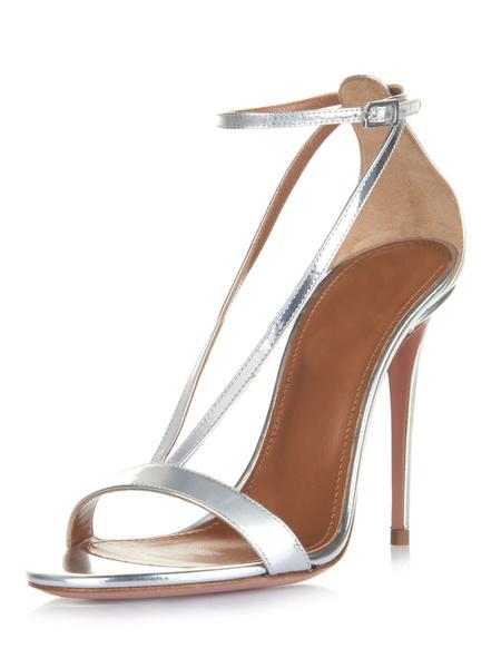 Milanoo Sandalias para novias de puntera abierta de tacon de stiletto Sandalias de PU plateadas estilo moderno