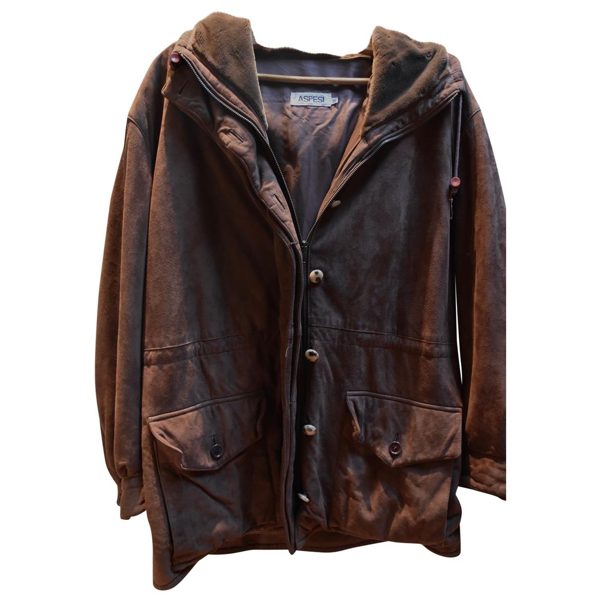 Aspesi - Manteau   pour homme en cuir - marron