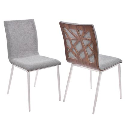 Crystal Collection LCCRCHGRF Dining Chair in Brushed Stainless Steel finish with Grey Fabric and Walnut Back - Set of