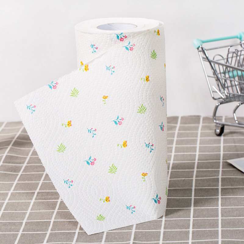 1 Roll Printed Kitchen Paper Thickened Kitchen Absorbent Paper Kitchen Paper Towel