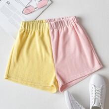 Flannel Colorblock Shorts