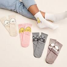 5pairs Dog Pattern Socks