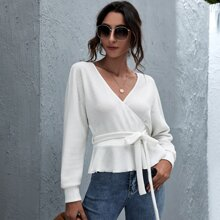 Surplice Neck Belted Cut-out Back Peplum Sweater