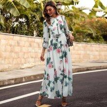 Vestido linea A floral de cuello con cordon