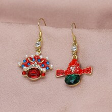 Faux Pearl Decor Chinese Style Drop Earrings