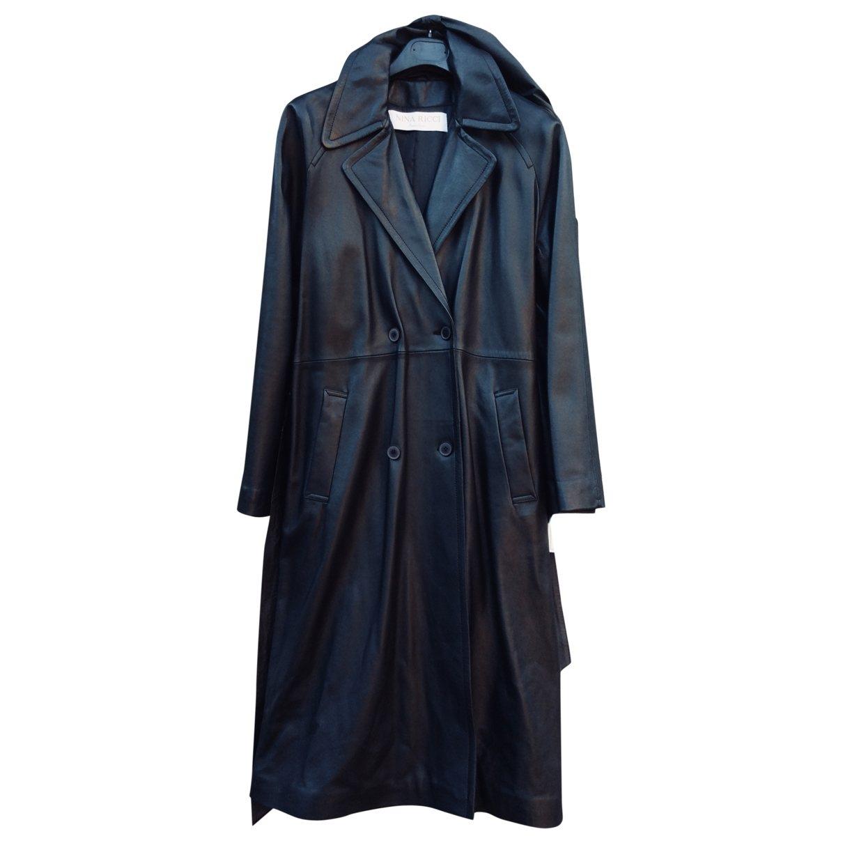 Nina Ricci - Trench   pour femme en cuir - noir