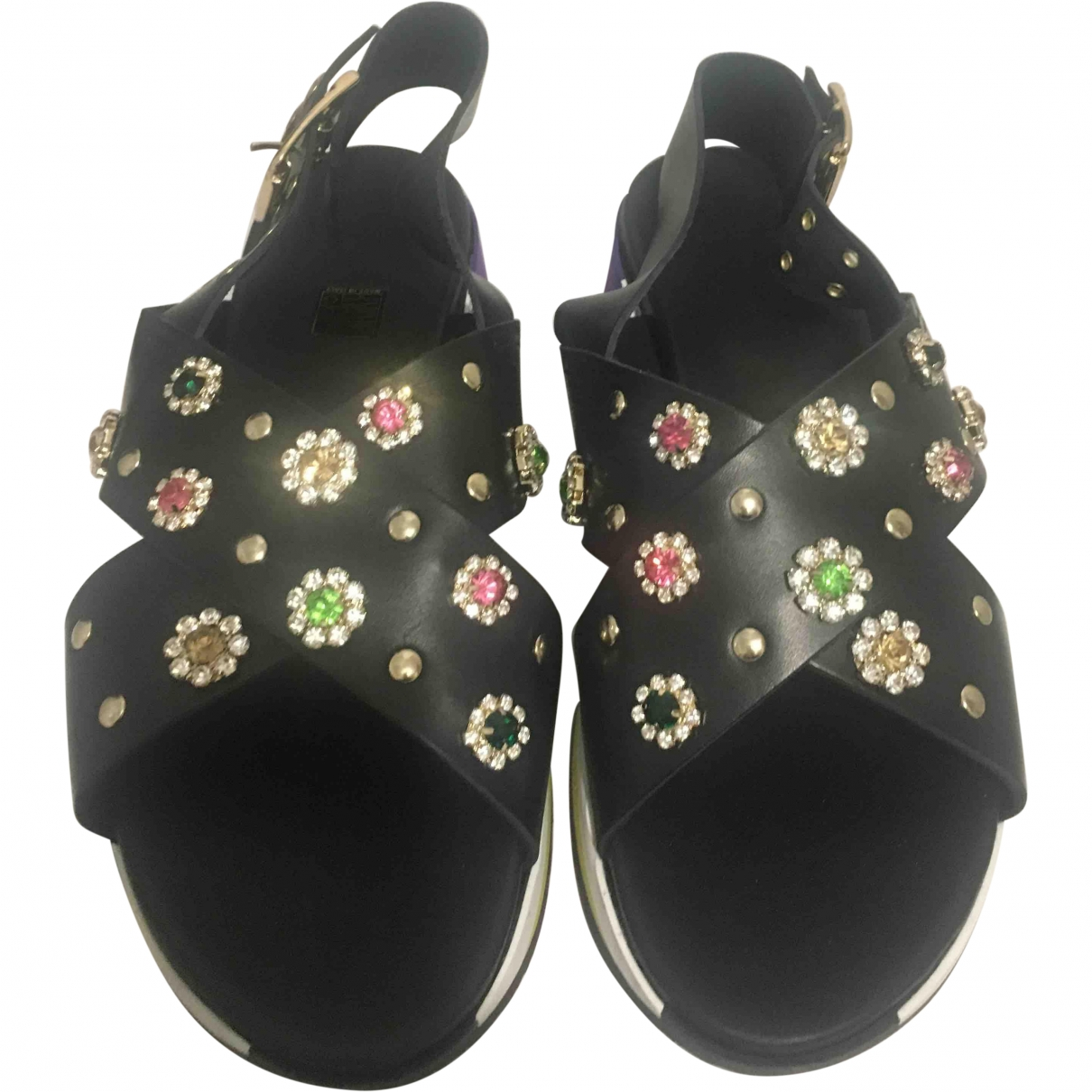 Non Signé / Unsigned \N Black Leather Sandals for Women 41 EU