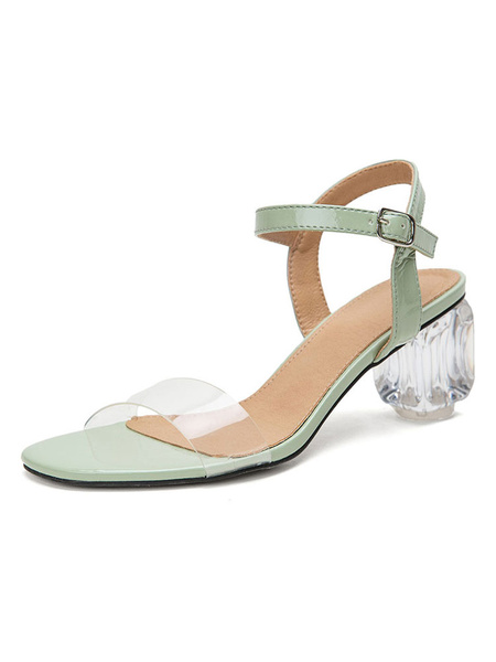 Milanoo Sandalias negras para mujer Sandalias de tacon con detalle de hebilla con punta abierta Zapatos de talla grande Zapatos transparentes