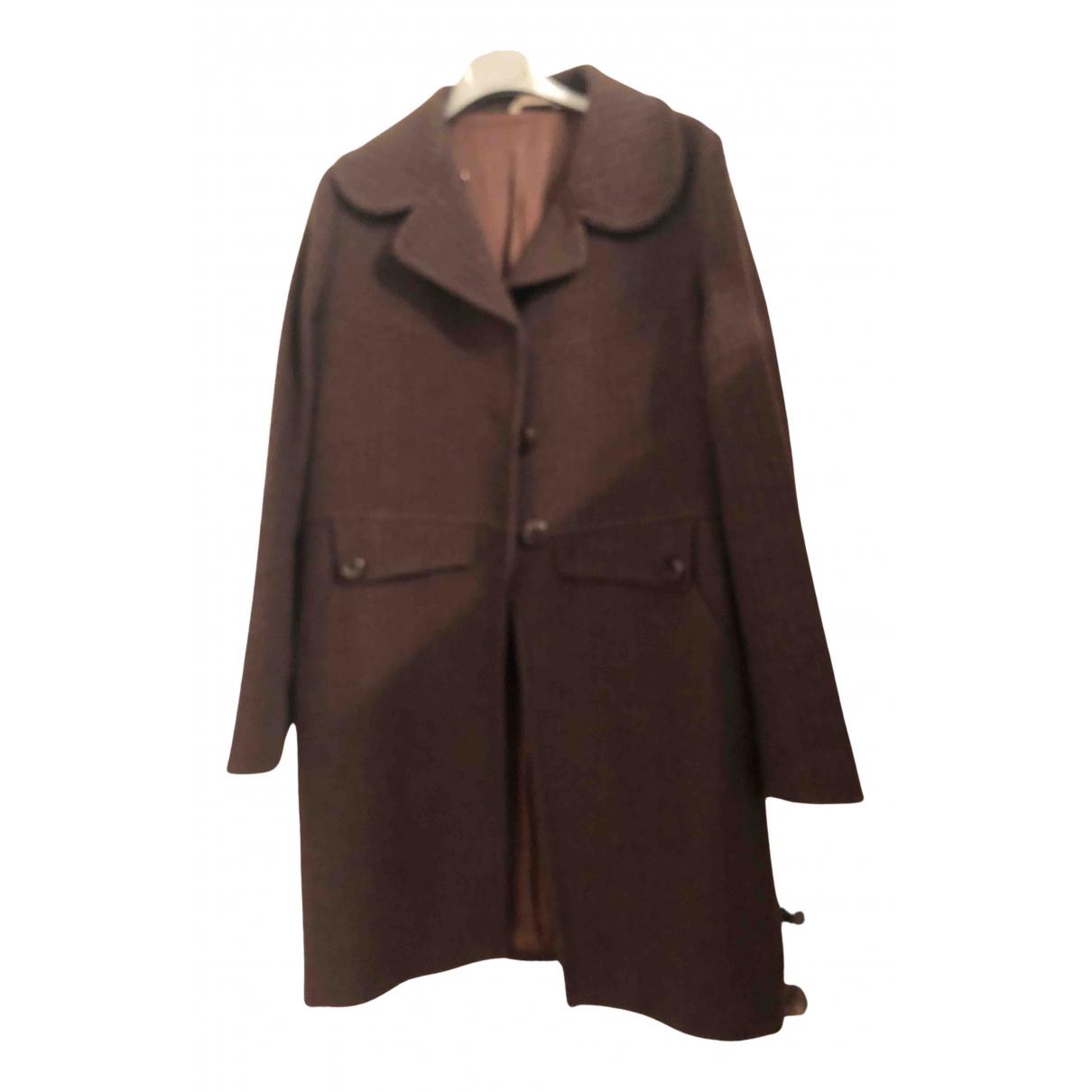Stefanel - Manteau   pour femme en laine - marron