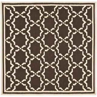 Safavieh Handmade Flatweave Dhurries Valarie Modern Moroccan Wool Rug (6' x 6' Square - Chocolate/Ivory)