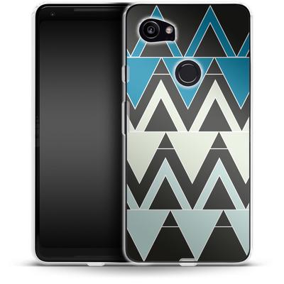 Google Pixel 2 XL Silikon Handyhuelle - Blue Triangles von caseable Designs