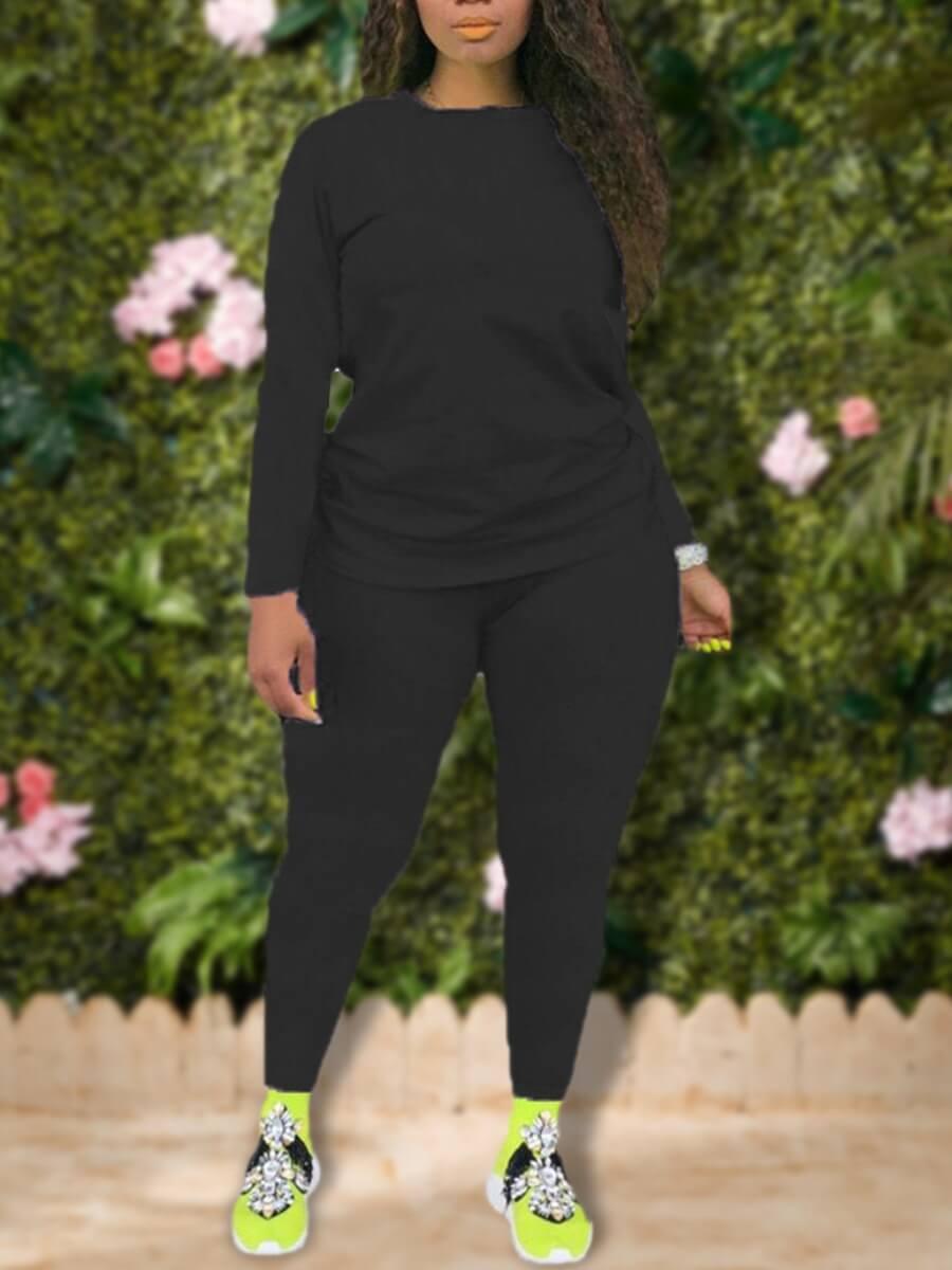 LW Lovely Leisure O Neck Basic Skinny Black Plus Size Two-piece Pants Set