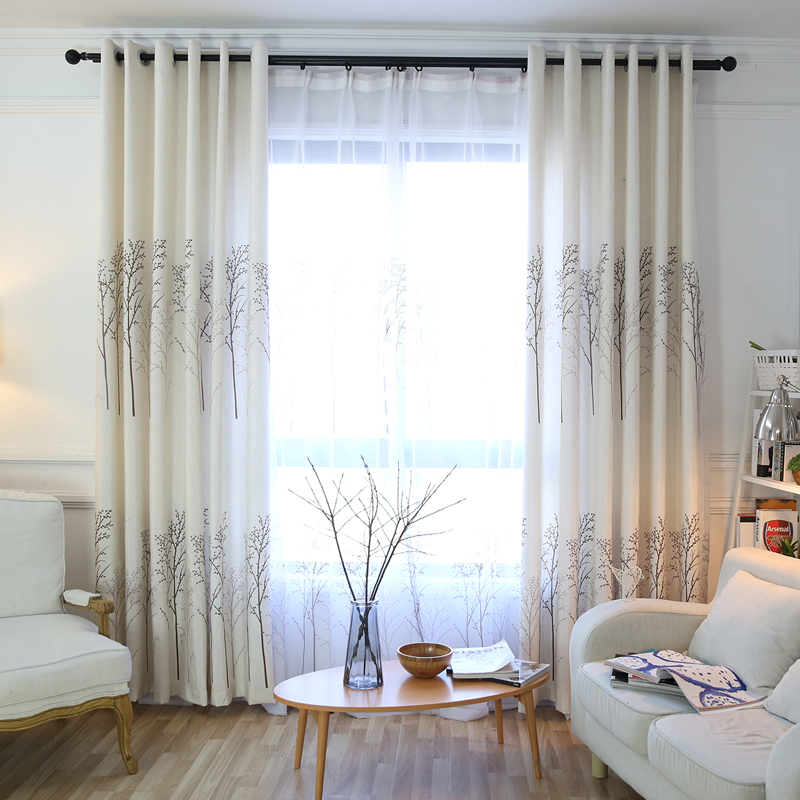 Modern Twig Print Custom Living Room Grommet Curtains 70% Shading Rate and UV Rays Environmentally Friendly Printing and Dyeing No use of Chemical Aux