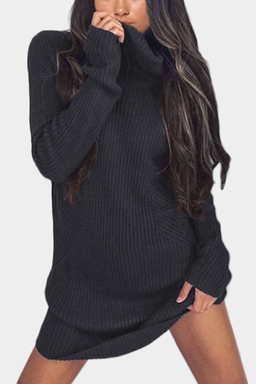 Yoins Dark Grey High Neck Long Sleeves Knit Casual Dress