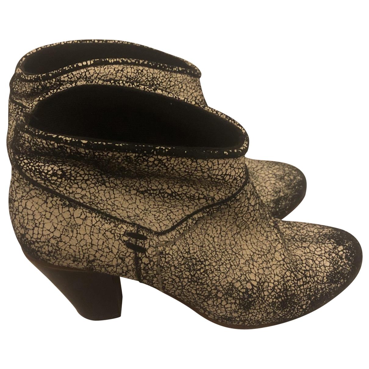 Maje - Boots   pour femme en cuir - blanc