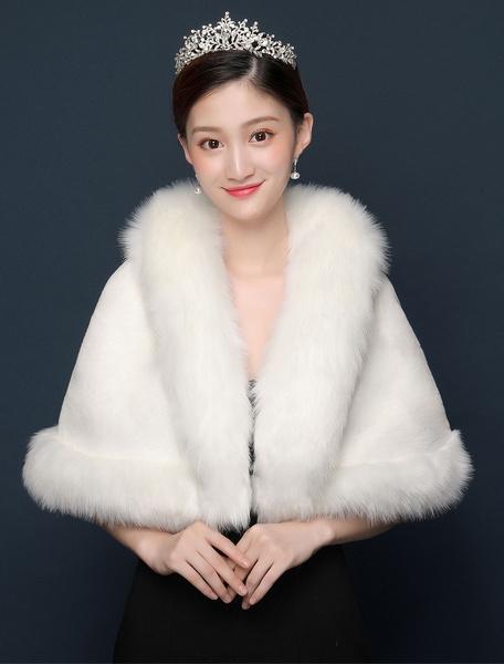 Milanoo Wedding Jacket Faux Fur Wrap Shawl Ivory Bridal Winter Cover Ups