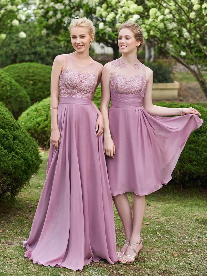 Ericdress Appliques Button Knee Length Bridesmaid Dress