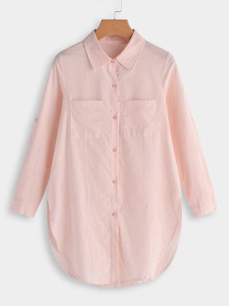 Yoins Pink Button & Pocket Front Lapel Collar Long Sleeves Long Blouse