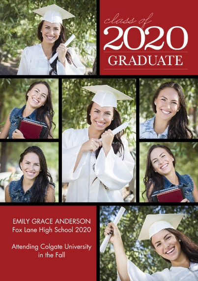 2020 Graduation Announcements 5x7 Cards, Premium Cardstock 120lb with Elegant Corners, Card & Stationery -2020 Graduation Collage by Tumbalina