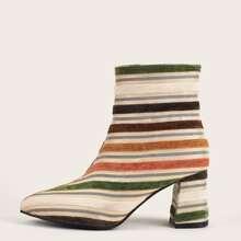 Botas calcetines con tacon grueso de color combinado