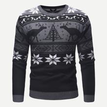 Men Christmas Print Sweater