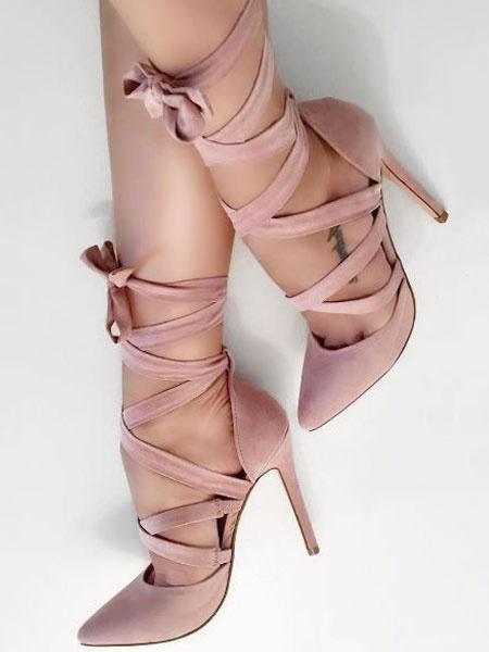 Milanoo Zapatos de tacon en ante con tacon alto en color rosa y con cordones para mujer