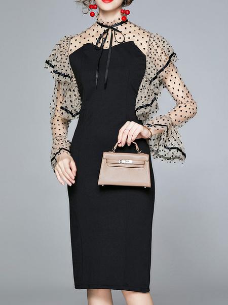 Milanoo Vestidos de fiesta Vestido semi formal asimetrico de manga larga con lunares negros Vestido tubo