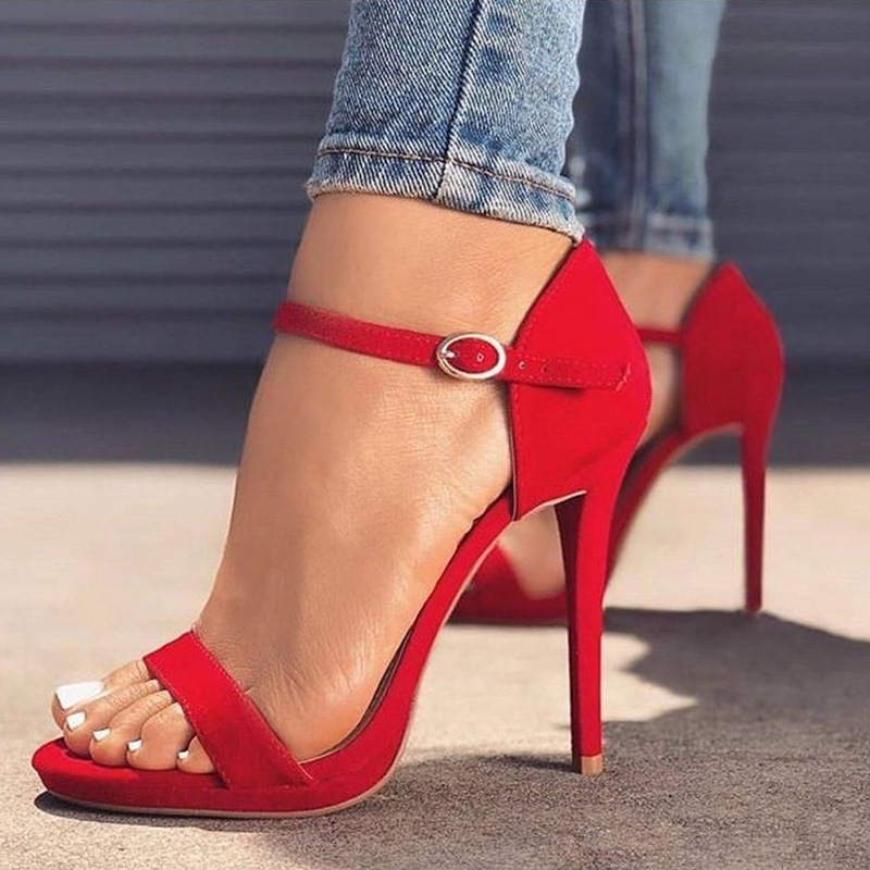 Ericdress Hasp Plain Open Toe Buckle Heel Sandals