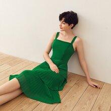 Gruen Gefaltet Einfarbig Elegant Kleider