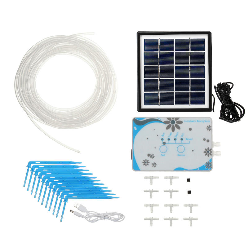 Solar DIY Micro Automatic Drip Irrigation Kit Self Watering USB Charged Timer