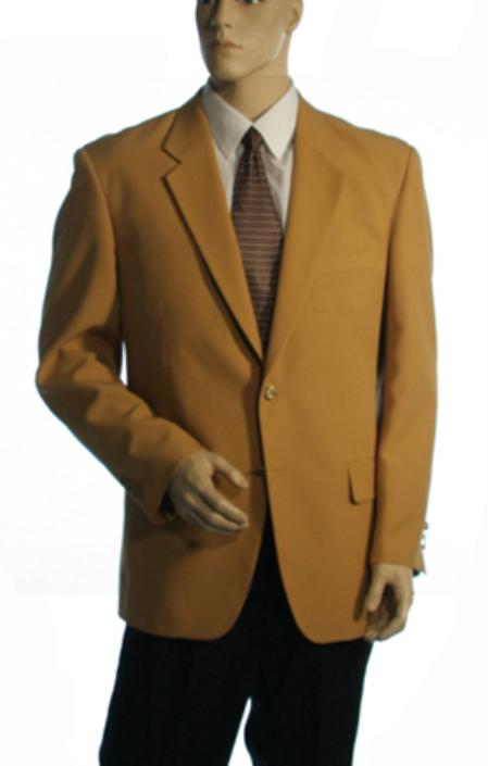 Single Breasted Available in 3 Button Style Jacket Solid Gold Blazer