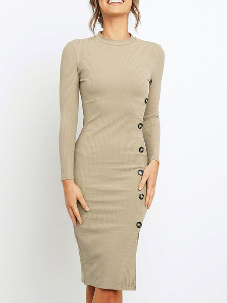 Milanoo Bodycon Dresses Deep Apricot Jewel Neck Casual Long Sleeves Pencil Dress