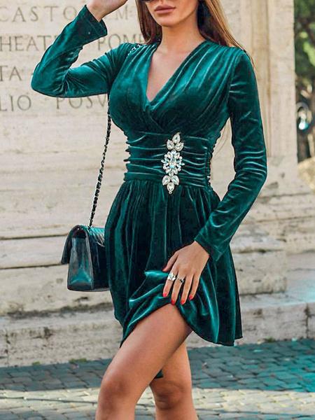 Milanoo Velvet Dress Dark Green Long Sleeves Rhinestones Velvet V Neck Sexy Dresses