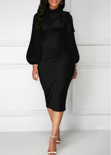 Black Dresses Black Bowknot Neck Lantern Sleeve Sheath Dress - S