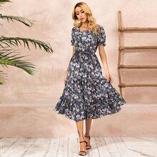 Allover Floral Ruffle Hem Dress